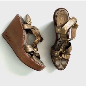 🌻Coach Mayra Wooden Brown Gold Strappy Wedges